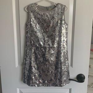 Girls Joyfolie Sequin Shift dress -silver